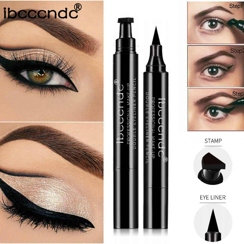 Ibcccndc Merk Make-Up Zwarte Eyeliner Vloeibare Potlood Sneldrogend Waterdicht Zwart Double-Ended Make Postzegels Vleugel Eyeliner Potlood