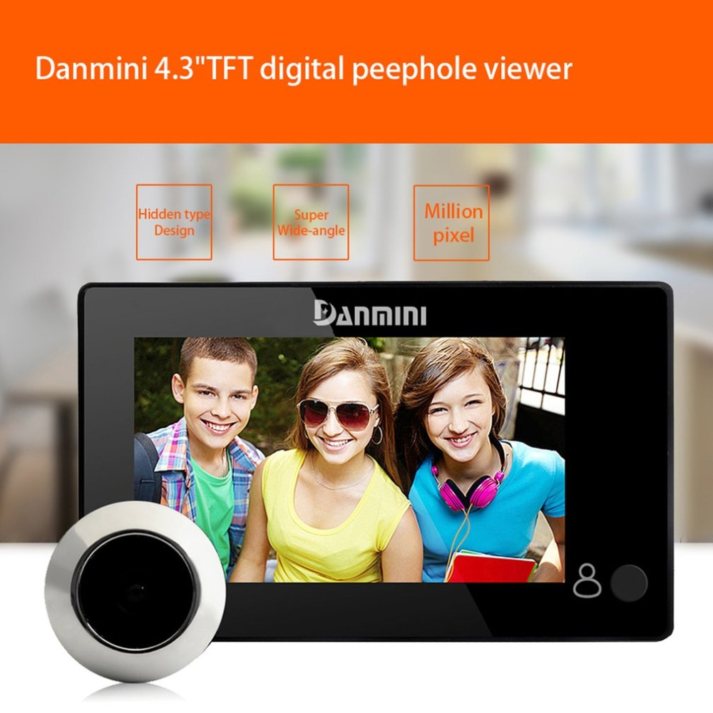 Danmini YB 43CH Hidden Electronic Cat Eye 145 degrees Wide Angle Door Camera Monitor 4.3 Inch Color Screen Peephole Viewer