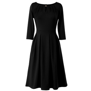Image 4 - Vfemage Womens Autumn Elegant Pleated Keyhole Neck Pockets Work Business Office Casual Party Fit Flare Skater A Line Dress 5113