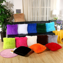 43x43cm Plush Solid Color Cushion Cover Square Sofa Chair Seat Throw Pillow Case Home Decor cartoon christmas square cushion throw pillow case