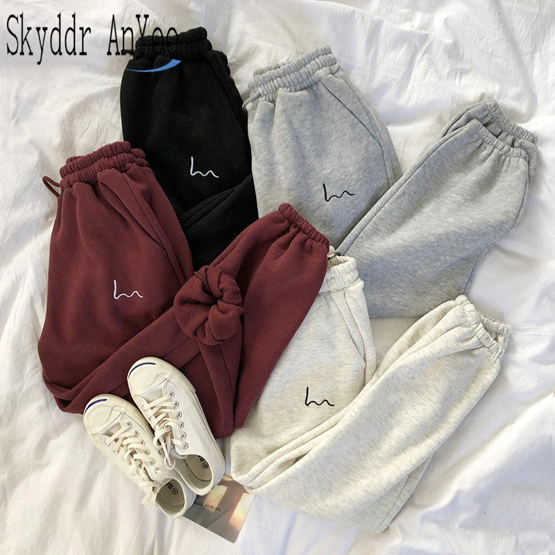 Winter Women Harem Pants Fleece Harajuku Black Pants Female Japanese Sweatpants Casual Ladies High Waist Long Trousers Bottom