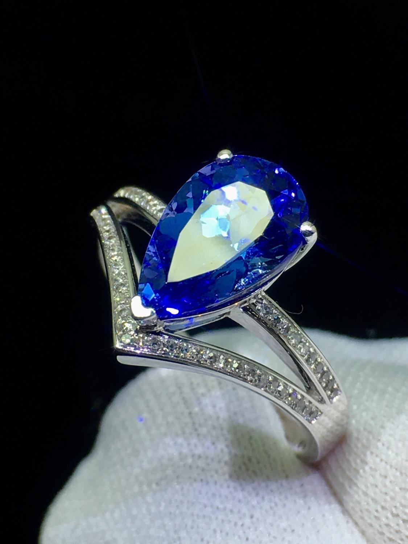 Finr เครื่องประดับ 18K สีขาวทองธรรมชาติ 100% แทนซาเนียต้นกำเนิด Blue Tanzanite อัญมณี 2.3ct หญิงแหวนสำหรับสตรี Fine แหวน-ใน ห่วง จาก อัญมณีและเครื่องประดับ บน   3