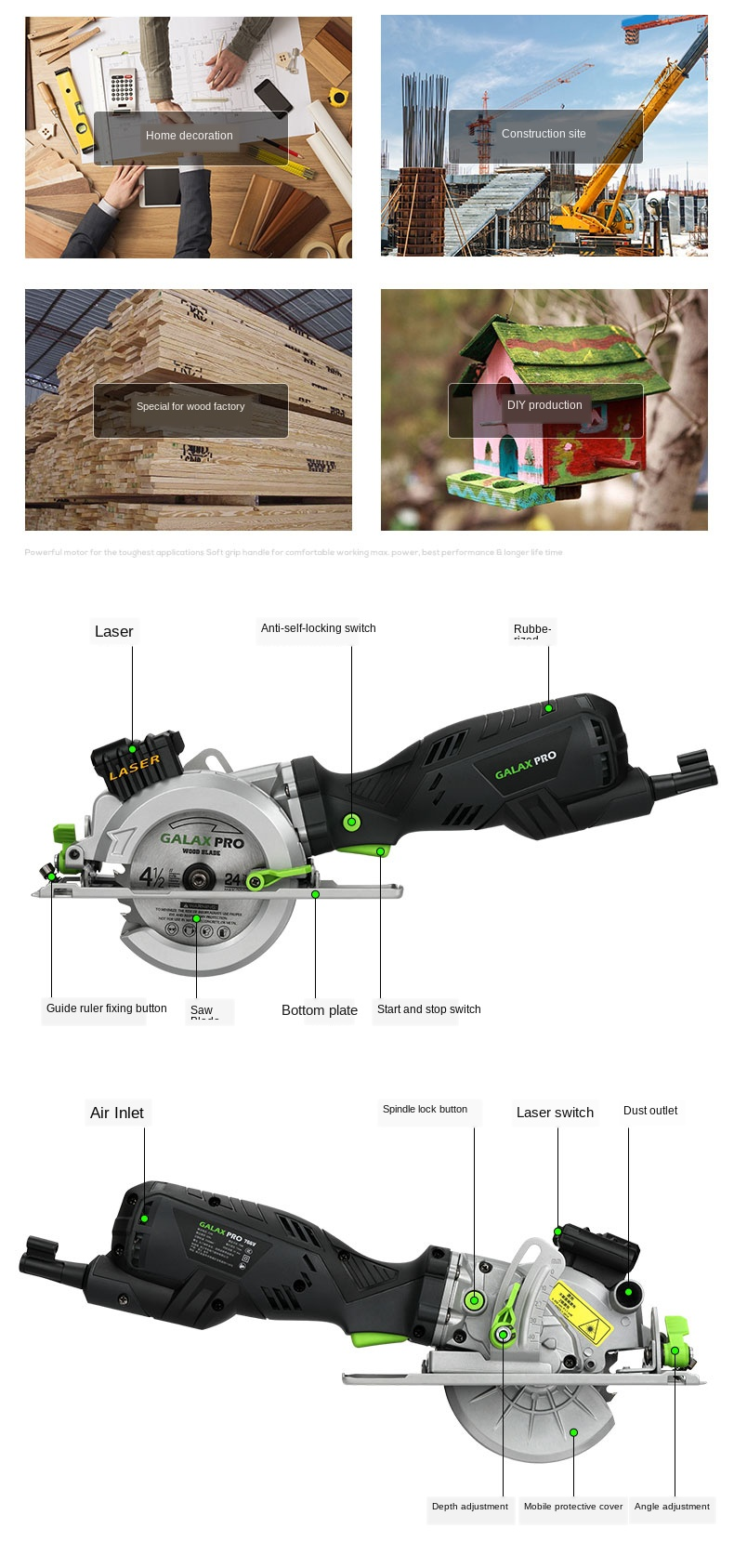 Handheld serra circular elétrica mini motosserra alça