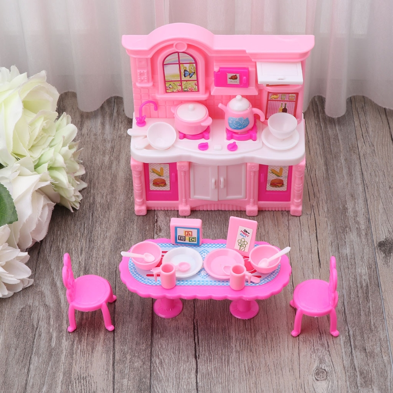 Kitchen Furniture Accessories For Barbie Dolls Dinnerware Cabinet Kids Toy Girl Gift 95AE