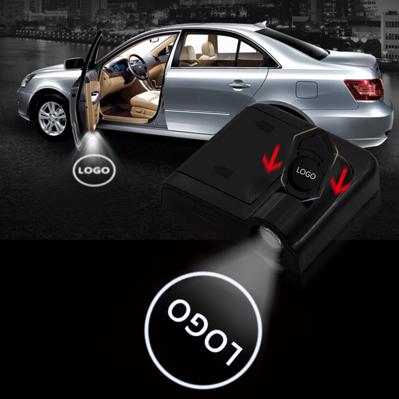 2pcs Universal Wireless LED Laser Projector/Magnetic/Sensor/Car Door Lamp/Shadow Light Accessories/Powered by Battery/No Drilling Required
