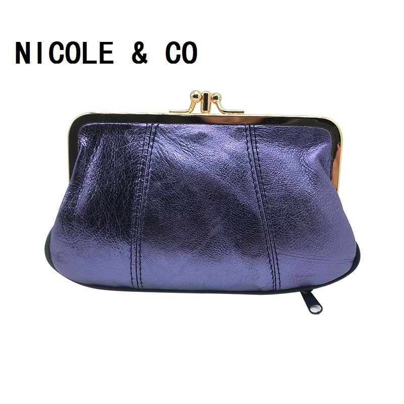 NICOLE & CO Genuine Leather Coin Purse Sheepskin Change Purse Metal Hasp Closure Card Holder Wallet Zipper Small Bag Womens