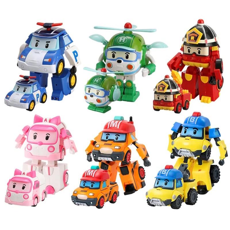 Set de 6 bucăți Poli Car robot jucărie transformă vehicul desen - Vehicule de jucărie - Fotografie 3
