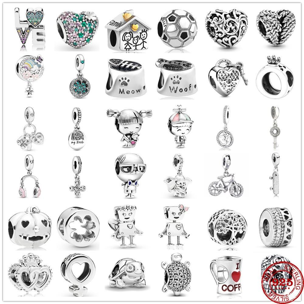 New original Charm sweet house coffee ponytail girl bead fit Pandora Charms Silver 925 bracelet DIY women fashion jewelry gifts(China)