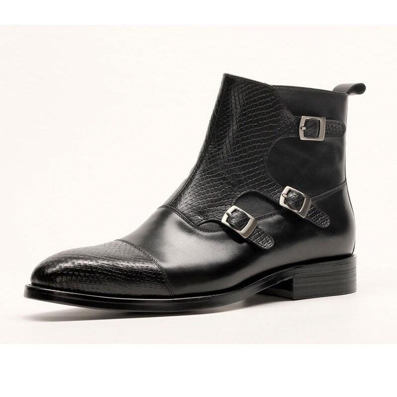 Botas de vestir de cuero genuino para hombres, botas de vestir para hombres, zapatos de hombre británico, con hebilla, botas de trabajo para hombres