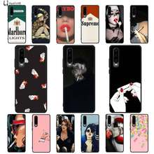 Weed Cigarette Smoking Colorful Cute Phone Case Cover for Huawei P9 10 lite P20 pro lite P30 pro lite Psmart mate 20 pro lite(China)