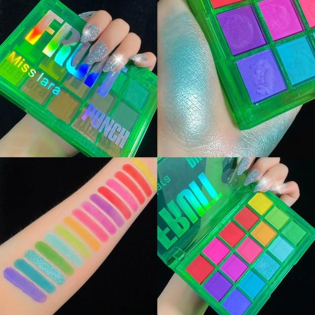Miss lara Makeup Sweet Party Eyeshadow Pallete Neon Palette 15 Shimmer Glitter Matte Shades Matellic Nude Blendable Pigment 2