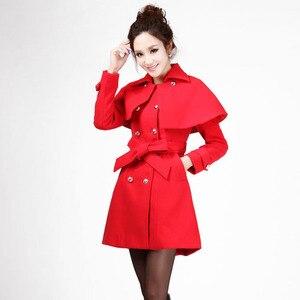 Женское пальто средней длины, новинка 2020, красная накидка, осеннее и зимнее женское пальто, шерстяное пальто, женская верхняя одежда, Женска...