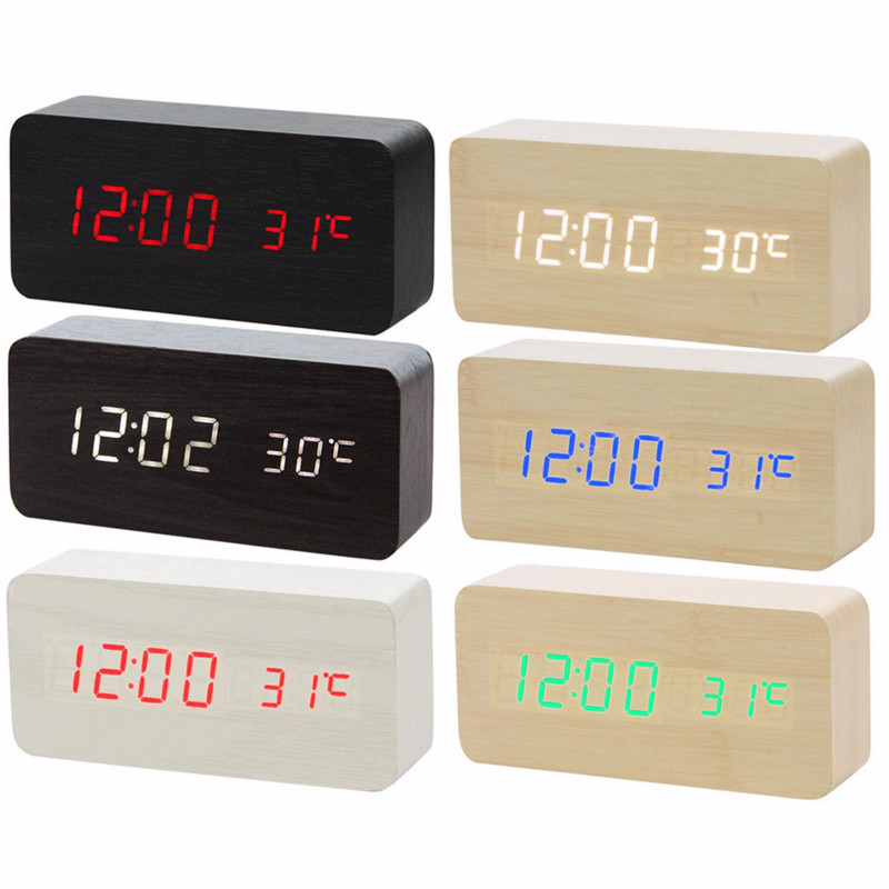 2019 New Voice Control LED Alarm Clock , Digital Thermometer Wooden Backlight Wood Retro Glow Clock Table Luminous Alarm Clocks