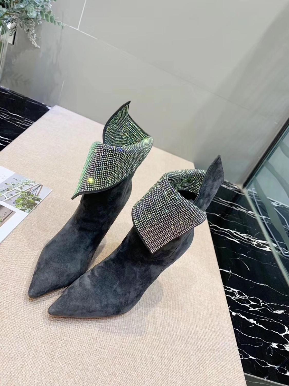 Г., модные короткие ботинки со сверлом женские ботинки на высоком каблуке с боковой молнией Ботинки martin черные ботинки на заказ - Цвет: Серый