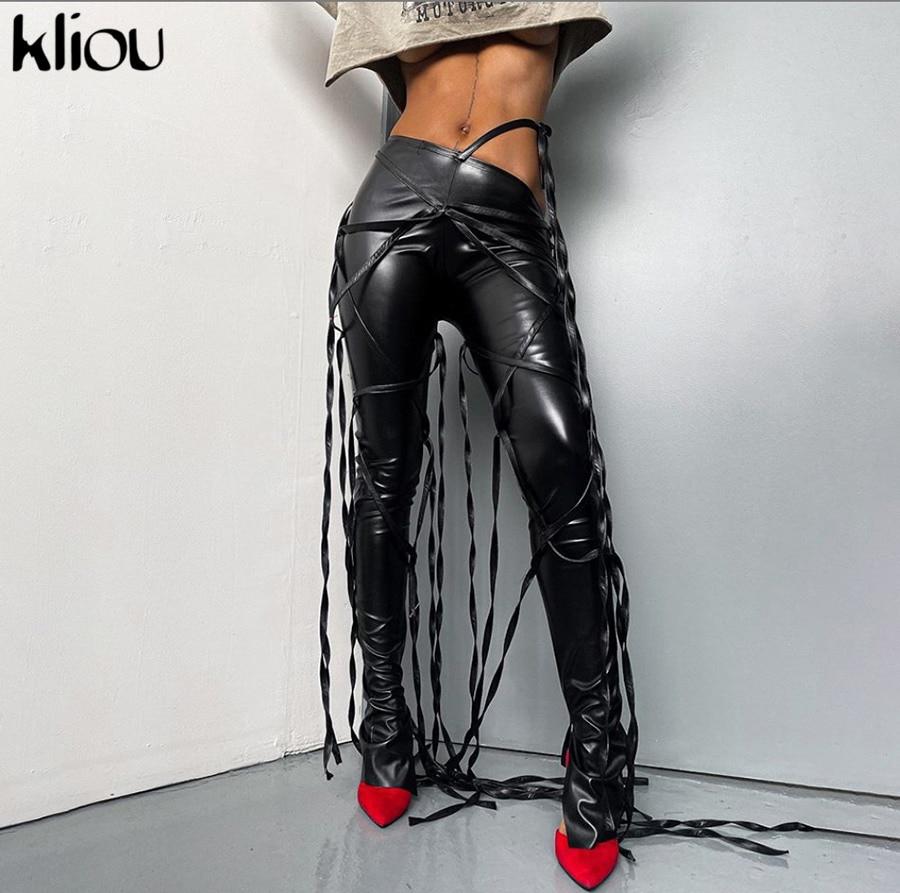 Kliou Bänder Faux Leder Solide Flare Hosen Frauen 2020 Mode Ästhetischen Streetwear Seite Slit Mittlere Taille Hosen Heißer Verkauf