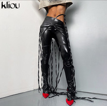 Kliou Ribbons Faux Leather Solid Flare Pants Women 2020 Fashion Aesthetic Streetwear Side Slit Mid Waist Trousers Hot Selling