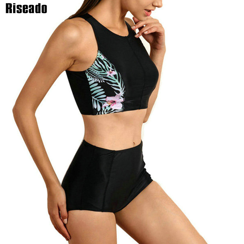 Riseado Sport Swimwear Women 2019 Bikinis High Waist Swimsuit Floral Printing Bikini Set Bathing Suits Summer Beachwear