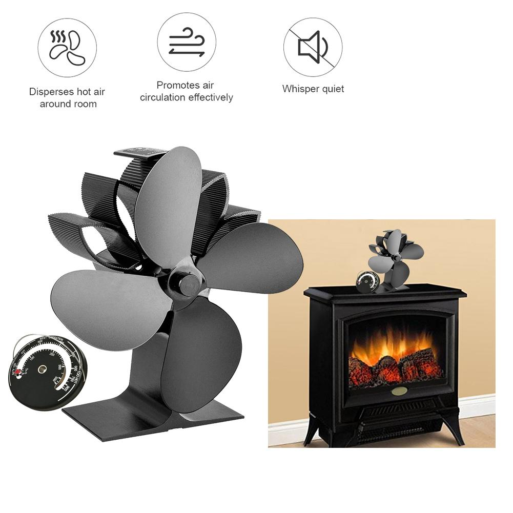 Heat Powered Stove Fan With Thermometer Home Silent Fireplace Fan For Wood / Log Burner / Fireplace Efficient Eco Stove Fan