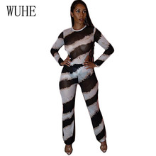 WUHE 2 Pieces Sets Women Long Sleeve Casual Rompers Overalls Sexy See Through Bodycon Stripe Jumpsuits Femme Vintage Playsuits