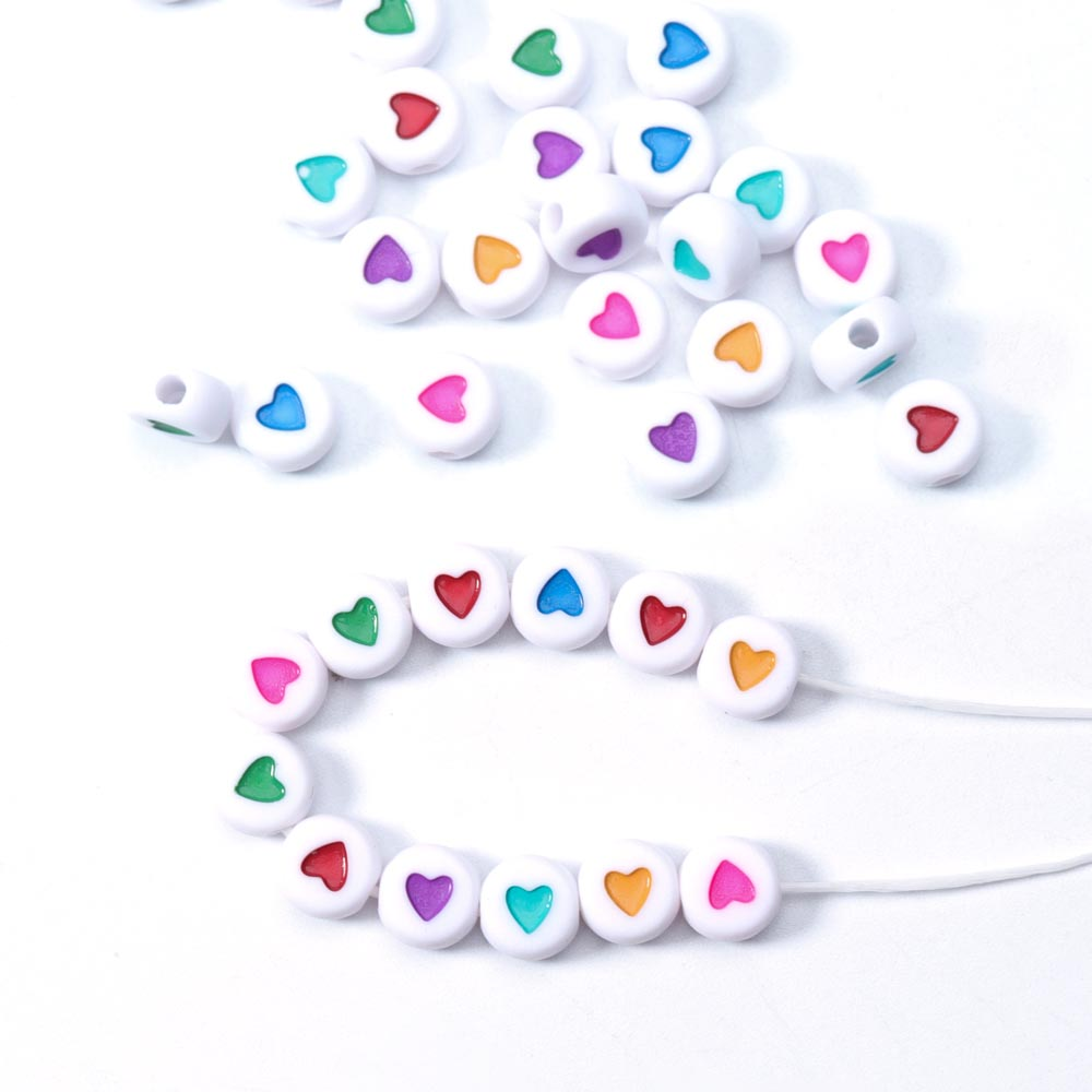 100pcs 7mm Hole 2mm Love Heart Beads Acrylic Spaced Beads Round bead For Jewelry Making DIY Handmade Charms Bracelet Wholesale(China)