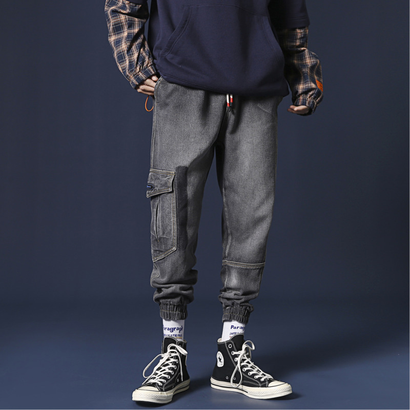 UYUK2019 Autumn And Winter New Product Stitching Loose Wild Casual Trend Large Size Men's Tooling Harlan Jeans Streetwear