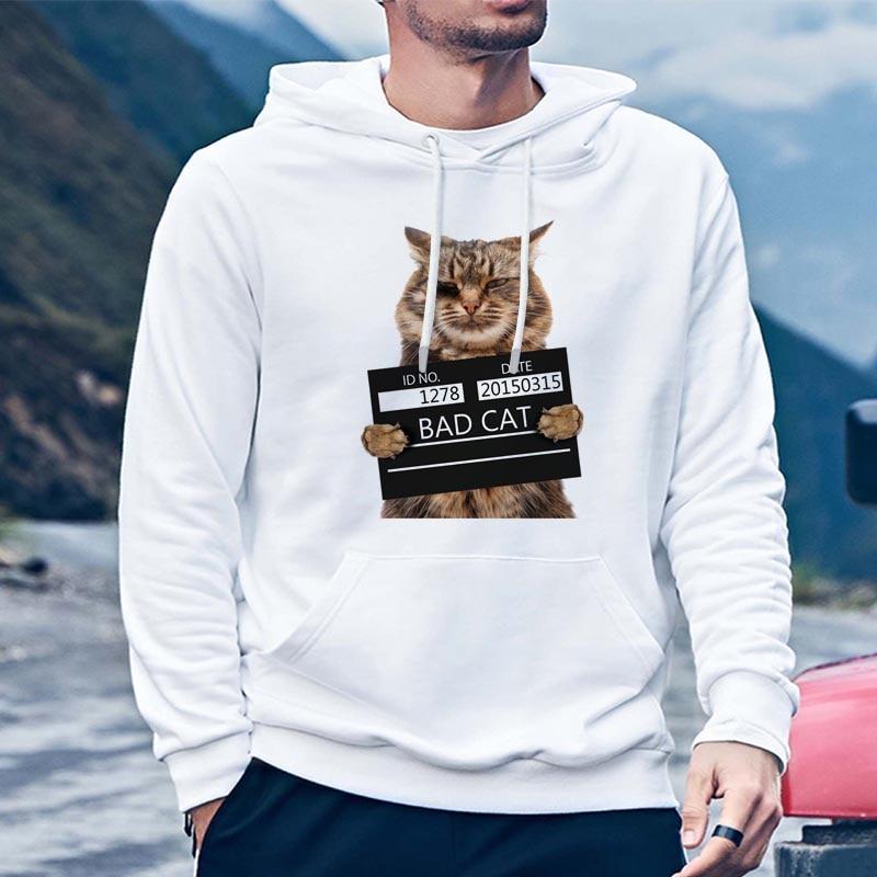 Mens Cartoon Cat Long Sleeve Crewneck Sweatshirt