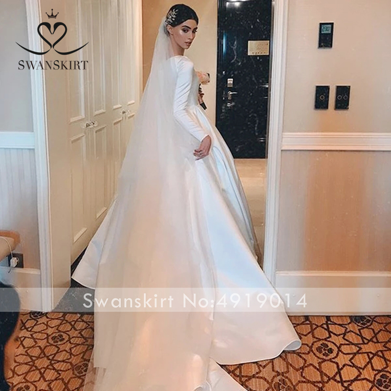 Image 2 - Muslim Satin A Line Wedding Dress Swanskirt WZ01 Elegant O Neck 
