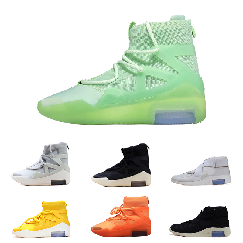 2020 Air Fear Men Shoes FOG Boots Light Bone Black Sail Oatmeal Amarillo Basketball Shoes Mens Sports Zoom Sneakers without Box