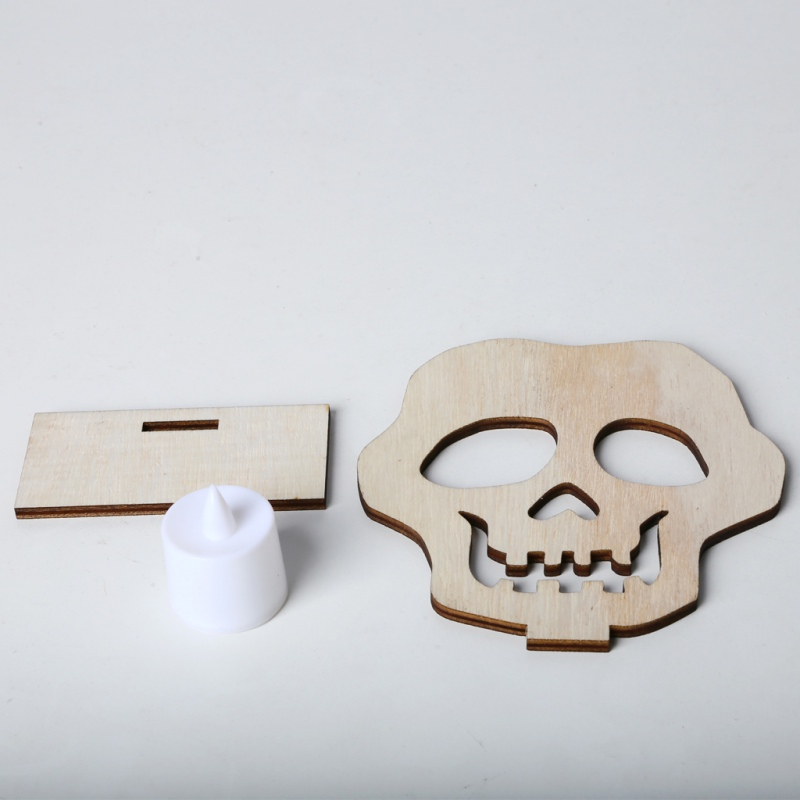 New DIY Splicing Halloween Wooden Lamp Wood Sign With LED Candle Light Halloween Party Decorations Skull Pumpkin Cat in Party DIY Decorations from Home Garden