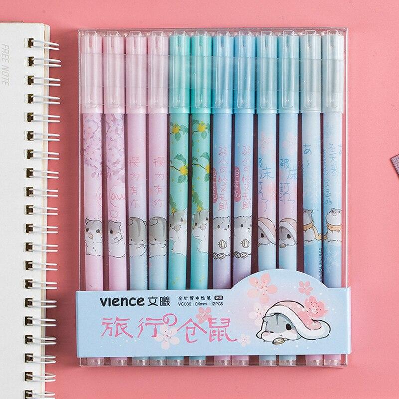 12 Pcs/box Cute Gel Pen Set Black Ink 0.5mm Gel Pens Kawaii Stationery For Office School Writing Examination Supplies Tool