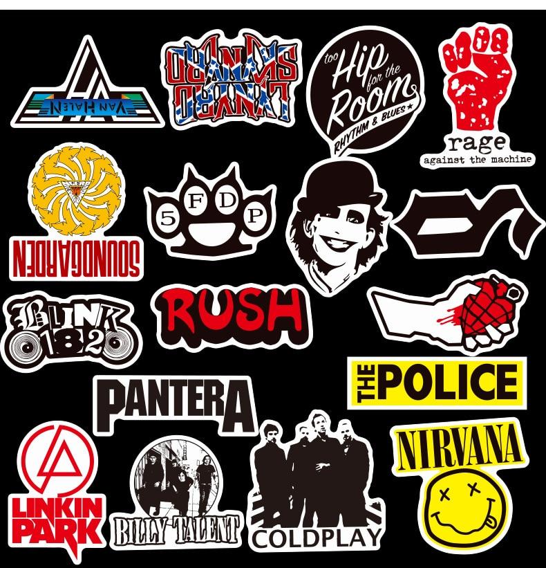 50Pcs/set Rock Music Band Stickers Graffiti Cool Pegatinas for Motorcycle Notebook Laptop Luggage Bicycle Skateboard