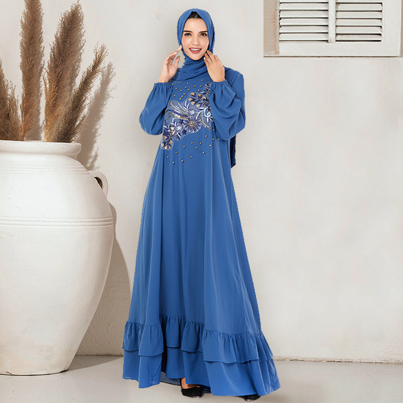 Siskakia Muslim Abaya Dress Plus Size Blue Embroidered Sequined Beaded Long Dresses Lantern Sleeve Double Layer Ruffles Design
