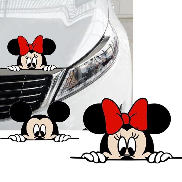 Bonita y divertida caricatura de Mickey y Minnie, calcomanías adhesivas para coche, espejo retrovisor del coche, parachoques, cuerpo, cabeza, estilo creativo, patrón de vinilo