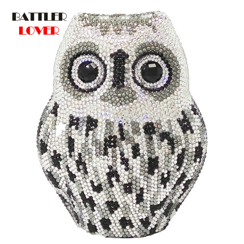 Bags for Women 3D Owl Clutch Bag Fully Crystal Evening Clutches Luxury Bags Metal Hard Case Minaudiere Wedding Handbag Purse