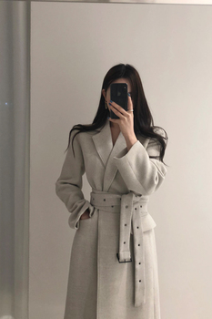 High Qulity Woman Coats Winter Wool Long With Belt Office Lady Fashion Lace Up