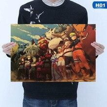 Винтажный мультфильм аниме постер Naruto бар Детская комната Домашний декор комиксы Наруто бумага для поделок В Стиле Ретро Живопись 51*35 см