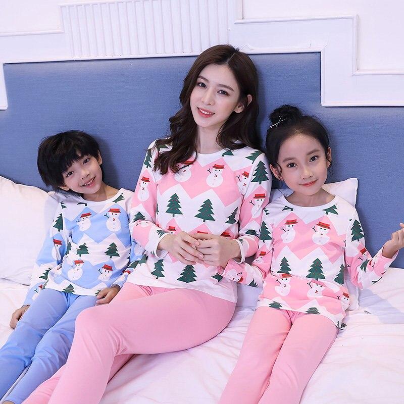 Cute Snowman Matching Family Christmas Pajamas Children Korean Cotton Mother Daughter Outfit Pants Matching Christmas Pajama Set
