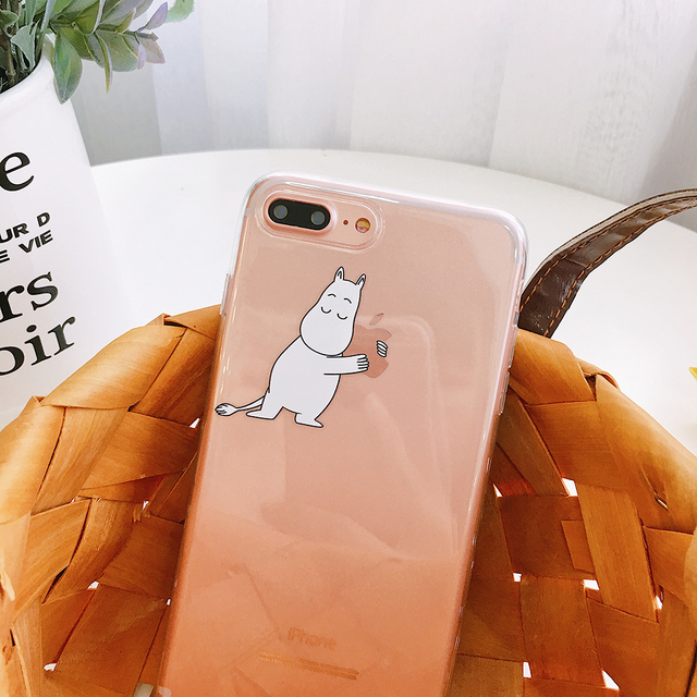 Hot Finland Cartoon Cute genius Moomin family phone case for iphone X Xs Max hippo Clear TPU soft Silicone Phone Cover Coque