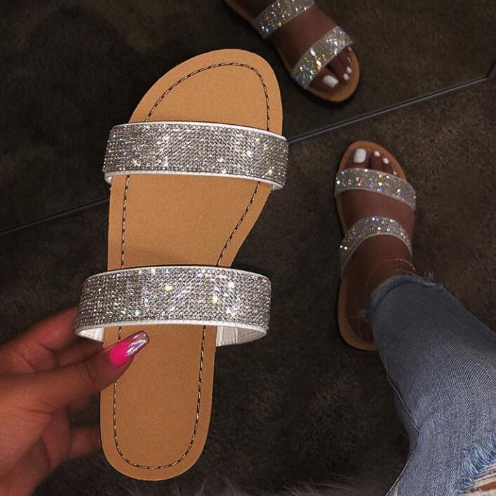 Diamond Slippers Sandals Joker Rhinestone Beach-Shoes Flat Outdoor Shiny Fashion