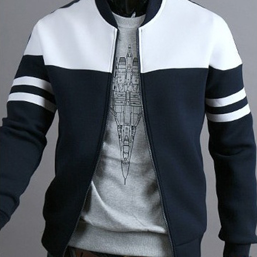 Fashion Men's Autumn Winter Zipper Sportswear Patchwork Jacket Long Sleeve Coat Sportswear Bomber Mens Jacket And Coats Płaszcz