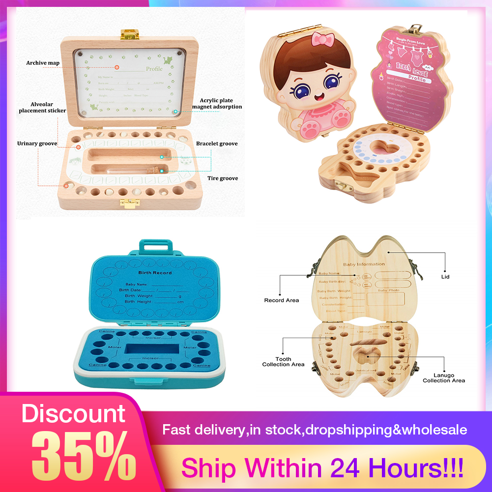 Hot Baby Wood Tooth Box Organizer Spanish English Russian Teeth Storage Collect For Boys Girls Umbilical Save Keepsake Souvenir