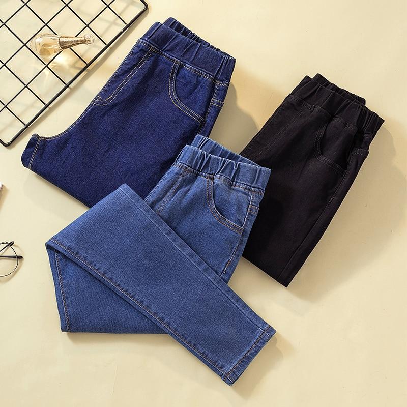 Skinny Jeans Woman   Plus Size Ankle Length   Button   Softener Skinny Pencil Pants Black Blue 5Xl