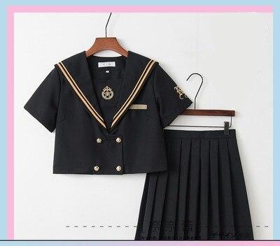 Однобортная школьная форма Jk; милый повседневный костюм моряка для девочек; Jpanese Kawaii; изысканный элегантный костюм с вышивкой и бантом - Цвет: short long