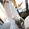 KarSaNy Summer White Shirts For Women Long Sleeve Embroidery Hollow out Office Shirt And Blouses Summer Loose White Tops 2021