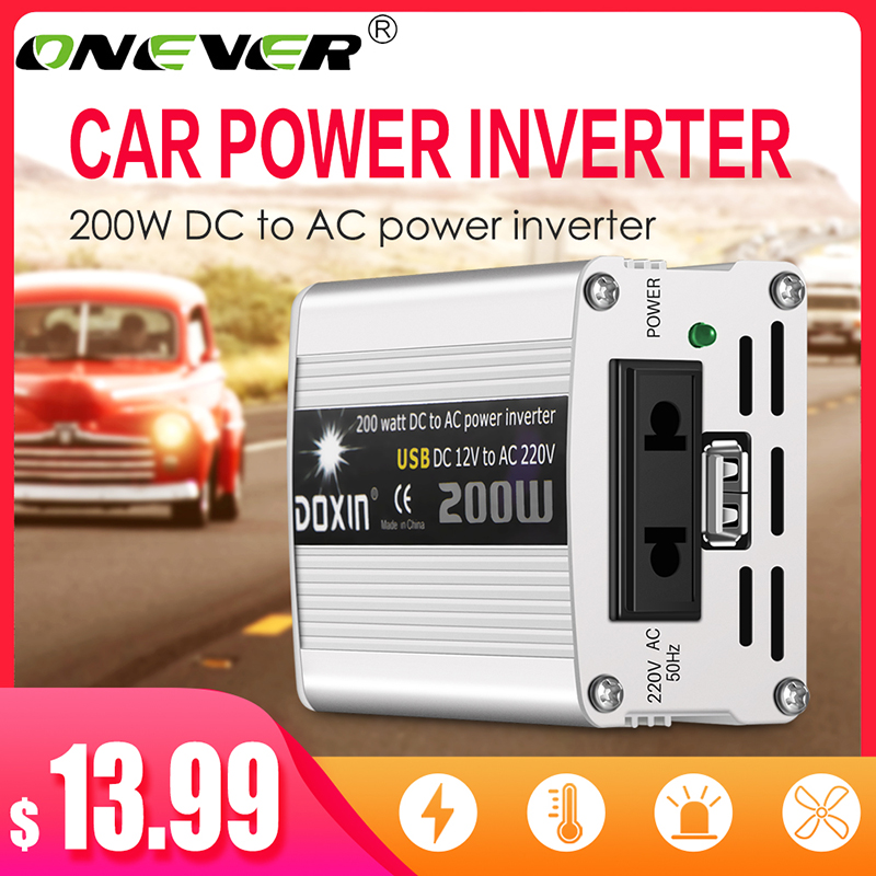Cargador inversor de corriente para coche portátil Onever 200W Watt DC 12V a CA 220 V/USB 5V adaptador convertidor DC 12 a CA 220 sinusoidal modificada