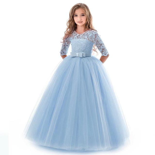 New Princess Lace Dress Kids Flower Embroidery Dress For Girls 14T Formal Ball Gown 4
