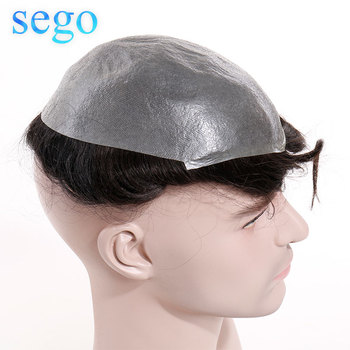SEGO 8''X10'' Length 6inch PU Thin Skin Men Toupee Real Human Hair 3cm Wave Replacement System Wig for men Non-Remy Natural Hair