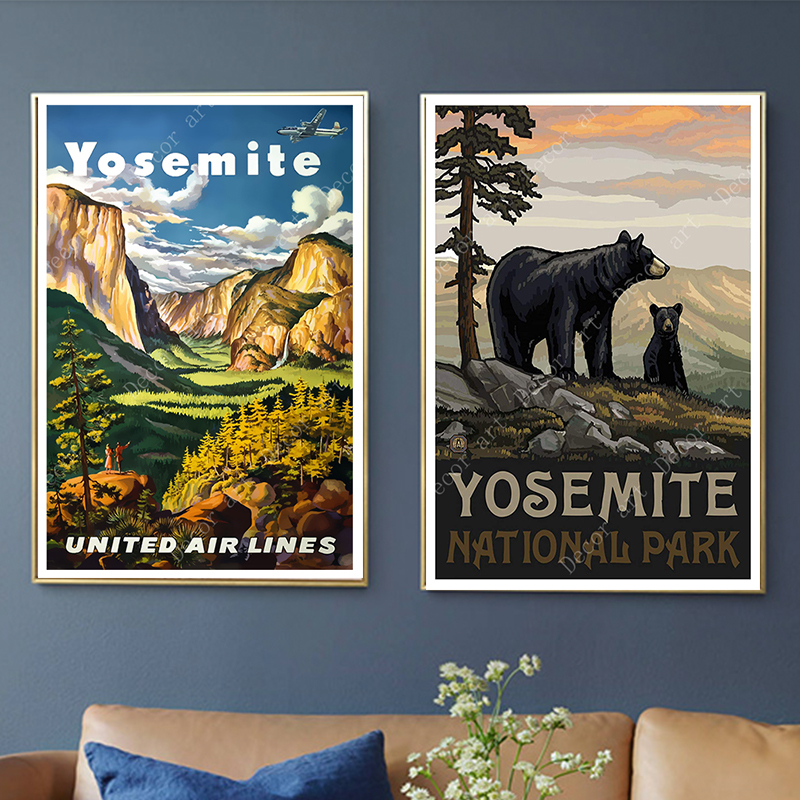 America Yosemite National Park Travel Canvas Painting Vintage Wall Kraft Posters Coated Wall Stickers Home Decorative Pictures