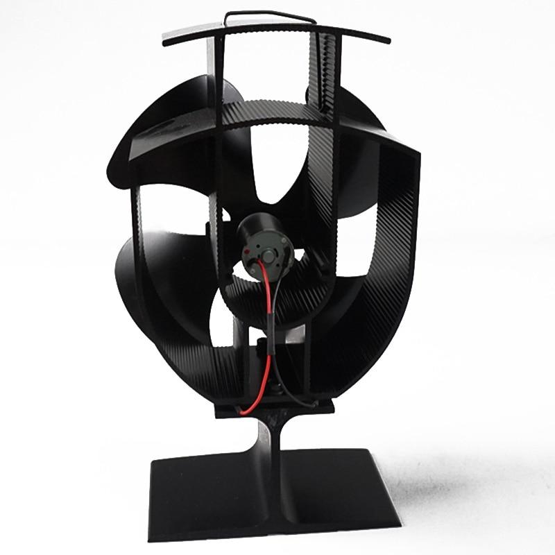 Heat Powered Wood Stove Fan Fireplace Log Burner Fan Black 4Blades Eco Friendly