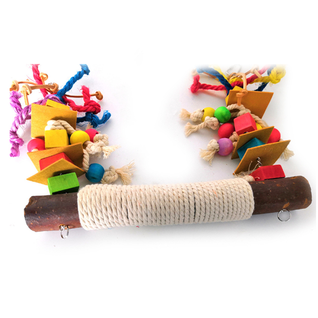Parrot Chewing Bite Hanging Cage Pet Bird Parrot Chew Toy Bird Perch Leather Colorful Wood Building Block Cotton Rope Big Swing 3